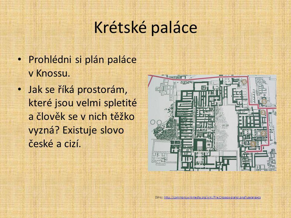 Krétské paláce Prohlédni si plán paláce v Knossu. Jak se říká prostorám, které jsou velmi spletité a člověk se v nich těžko vyzná? Existuje slovo česk