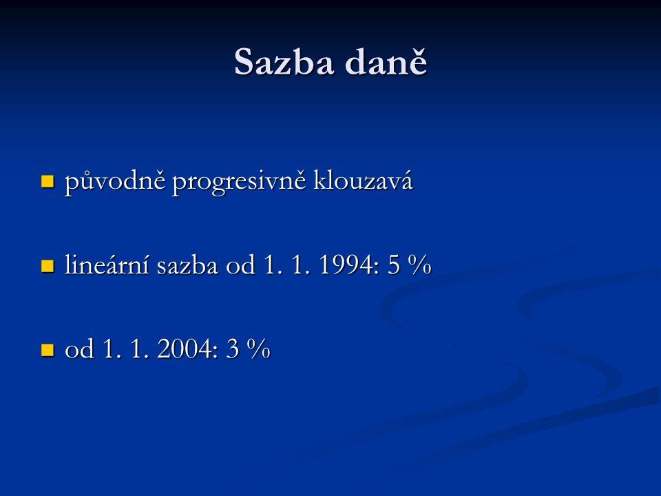 Sazba daně původně progresivně klouzavá původně progresivně klouzavá lineární sazba od 1. 1. 1994: 5 % lineární sazba od 1. 1. 1994: 5 % od 1. 1. 2004