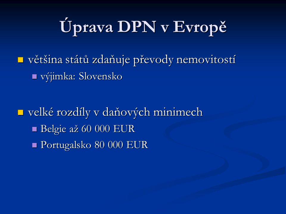 Úprava DPN v Evropě většina států zdaňuje převody nemovitostí většina států zdaňuje převody nemovitostí výjimka: Slovensko výjimka: Slovensko velké ro