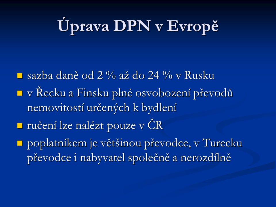 Úprava DPN v Evropě sazba daně od 2 % až do 24 % v Rusku sazba daně od 2 % až do 24 % v Rusku v Řecku a Finsku plné osvobození převodů nemovitostí urč