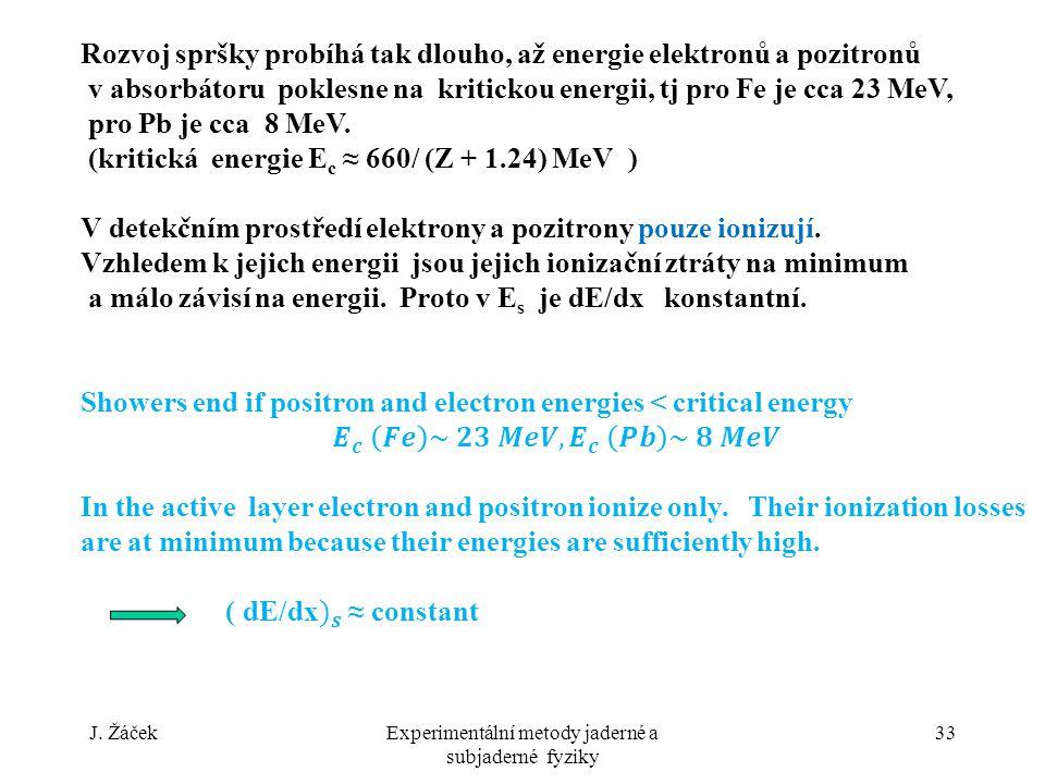 J. ŽáčekExperimentální metody jaderné a subjaderné fyziky 33
