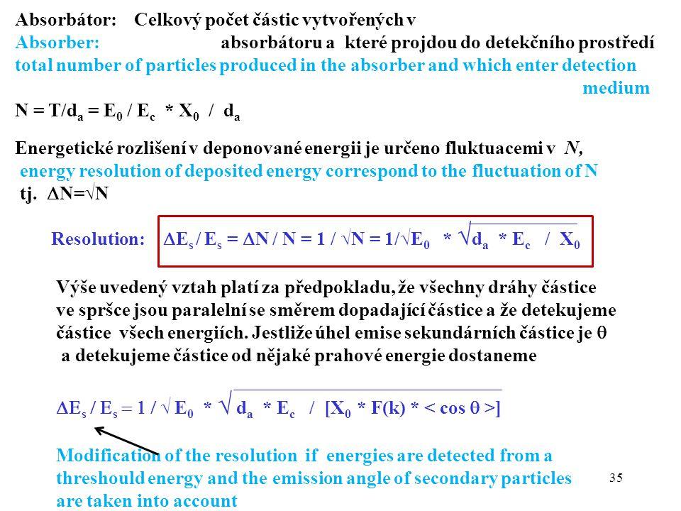 35 Absorbátor: Celkový počet částic vytvořených v Absorber: absorbátoru a které projdou do detekčního prostředí total number of particles produced in the absorber and which enter detection medium N = T/d a = E 0 / E c * X 0 / d a Energetické rozlišení v deponované energii je určeno fluktuacemi v N, energy resolution of deposited energy correspond to the fluctuation of N tj.