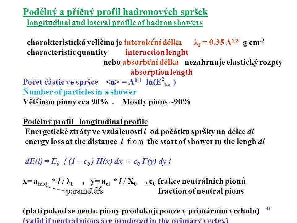 46 Podélný a příčný profil hadronových spršek longitudinal and lateral profile of hadron showers charakteristická veličina je interakční délka λ I = 0.35 A 1/3 g cm -2 characteristic quantity interaction lenght nebo absorbční délka nezahrnuje elastický rozpty absorption length Počet částic ve spršce = A 0.1 ln(E 2 tot ) Number of particles in a shower Většinou piony cca 90%.