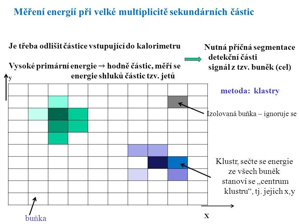 Měření energií při velké multiplicitě sekundárních částic Nutná příčná segmentace detekční části signál z tzv.