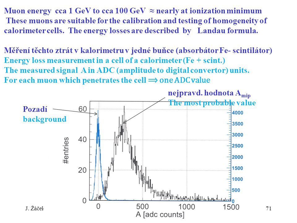J. ŽáčekExperimentální metody jaderné a subjaderné fyziky 71 Muon energy cca 1 GeV to cca 100 GeV ≈ nearly at ionization minimum These muons are suita