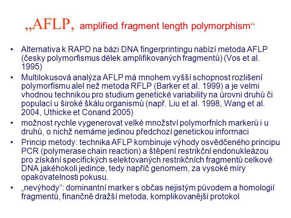 """""""AFLP, amplified fragment length polymorphism Využití vhodnost AFLP markerů při studiu hybridizace, introgrese, definice klonů, polyploidů, stanovení genotypu (vyšší variabilita oproti konzervativním alozymovým lokusům) určování paternity díky variabilitě a vysoké míře reprodukovatelnosti výsledků systematika, fylogeneze, fylogeografie populačně-genetické studie: vnitro- a mezipopulační variabilita, kvantifikace genového toku, podobnost/rozdílnost mezi populacemi AFLP protokol na: http://www.natur.cuni.cz/~muncling/praktGM.htm http://www.natur.cuni.cz/~muncling/praktGM.htm (Projekt FRVŠ 813/2008)"""