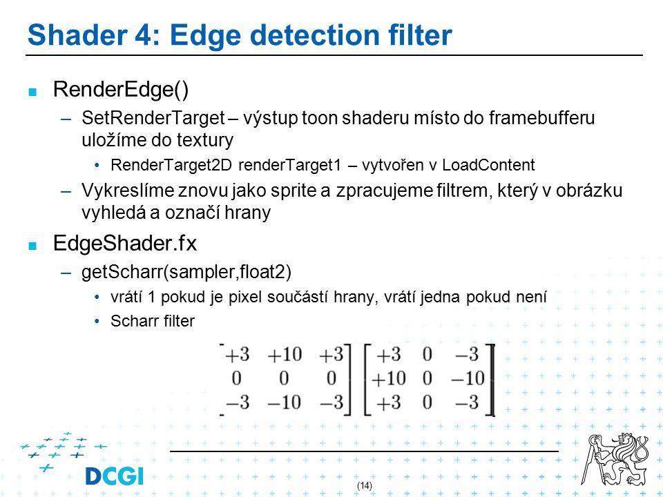 (14) Shader 4: Edge detection filter RenderEdge() – –SetRenderTarget – výstup toon shaderu místo do framebufferu uložíme do textury RenderTarget2D renderTarget1 – vytvořen v LoadContent – –Vykreslíme znovu jako sprite a zpracujeme filtrem, který v obrázku vyhledá a označí hrany EdgeShader.fx – –getScharr(sampler,float2) vrátí 1 pokud je pixel součástí hrany, vrátí jedna pokud není Scharr filter