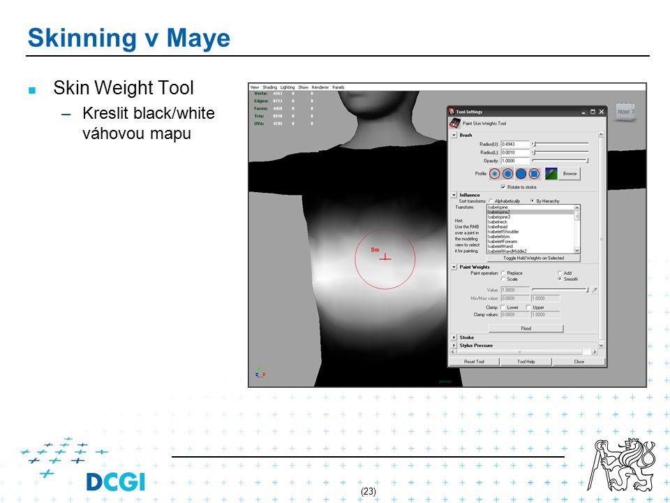 (23) Skinning v Maye Skin Weight Tool – –Kreslit black/white váhovou mapu