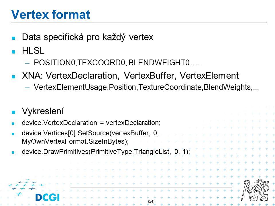 (24) Vertex format Data specifická pro každý vertex HLSL – –POSITION0,TEXCOORD0, BLENDWEIGHT0,,...