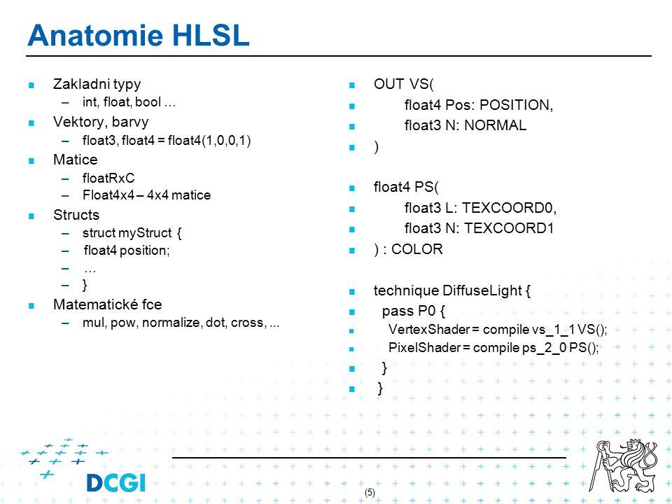 (6) Přenos dat z/do HLSL shaderu Globální proměnné – –Stejné pro celý model/část modelu – –HLSL: float4x4 World; – –XNA: Effect.Parameters[ World ].SetValue(Matrix.Identity); vertex/fragment proměnné – –POSITION, TEXCOORD0, NORMAL, COLOR0 – –Specifikace HLSL – –Např.