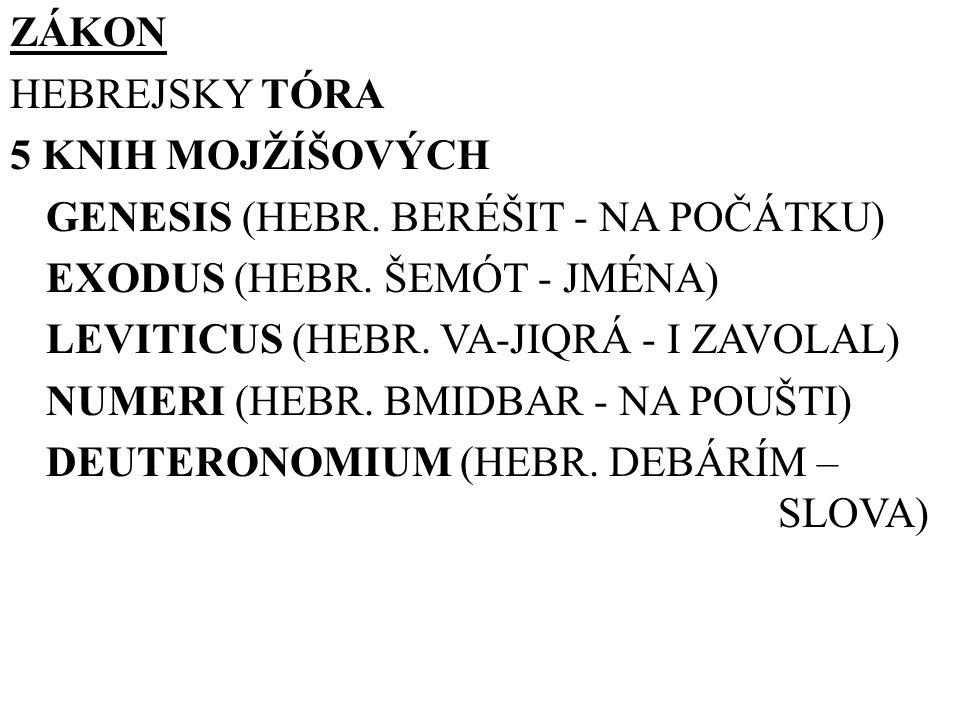 ZÁKON HEBREJSKY TÓRA 5 KNIH MOJŽÍŠOVÝCH GENESIS (HEBR. BERÉŠIT - NA POČÁTKU) EXODUS (HEBR. ŠEMÓT - JMÉNA) LEVITICUS (HEBR. VA-JIQRÁ - I ZAVOLAL) NUMER