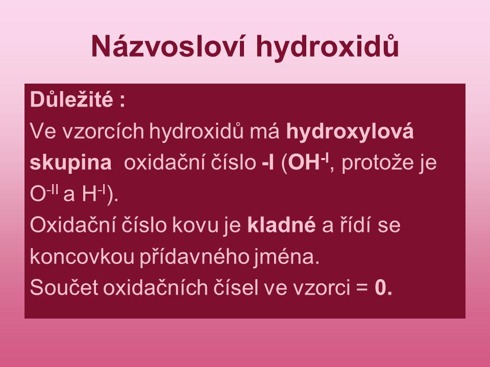 Názvosloví hydroxidů Důležité : Ve vzorcích hydroxidů má hydroxylová skupina oxidační číslo -I (OH -I, protože je O -II a H -I ). Oxidační číslo kovu