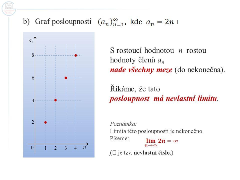 b)Graf posloupnosti S rostoucí hodnotou n rostou hodnoty členů a n nade všechny meze (do nekonečna). Říkáme, že tato posloupnost má nevlastní limitu.