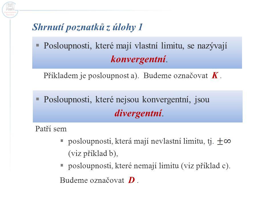 Shrnutí poznatků z úlohy 1  Posloupnosti, které mají vlastní limitu, se nazývají konvergentní. Příkladem je posloupnost a). Budeme označovat K.  Pos