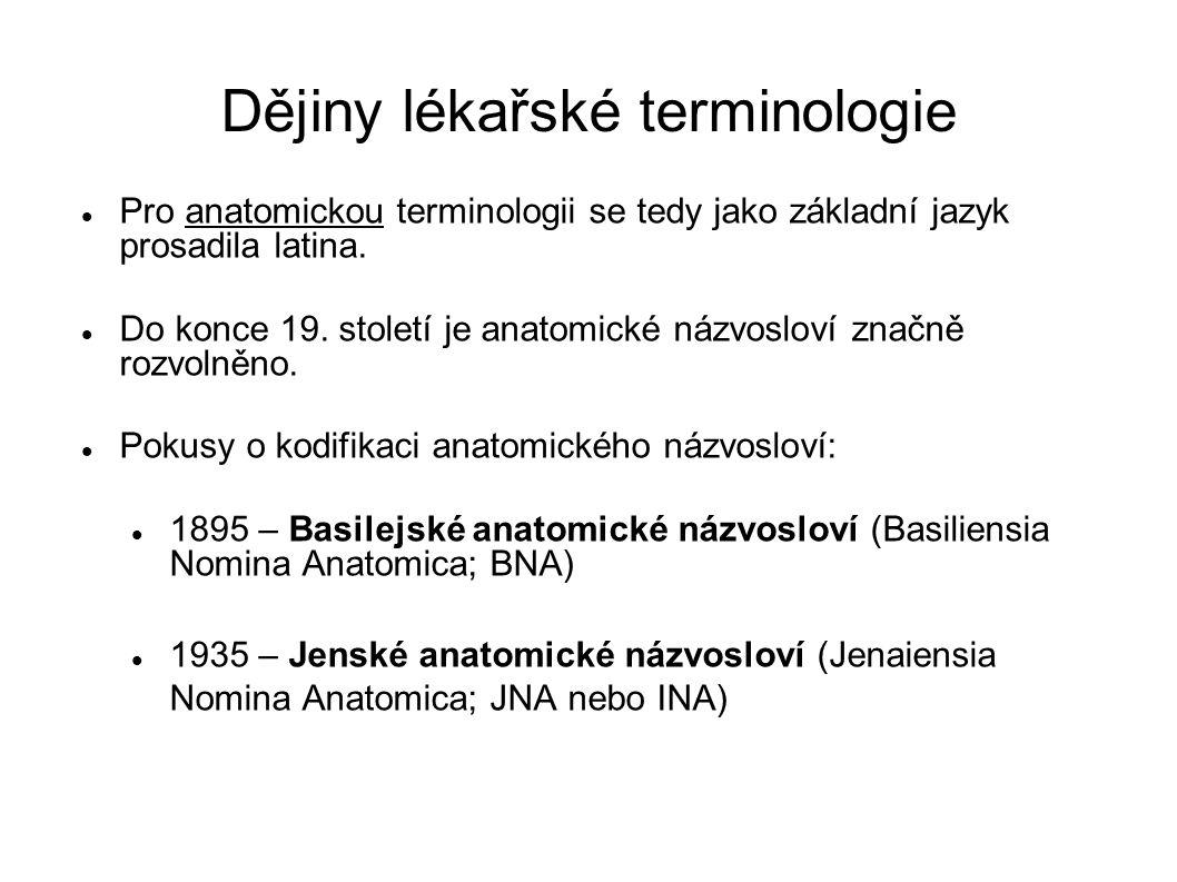 Dějiny lékařské terminologie Pro anatomickou terminologii se tedy jako základní jazyk prosadila latina. Do konce 19. století je anatomické názvosloví