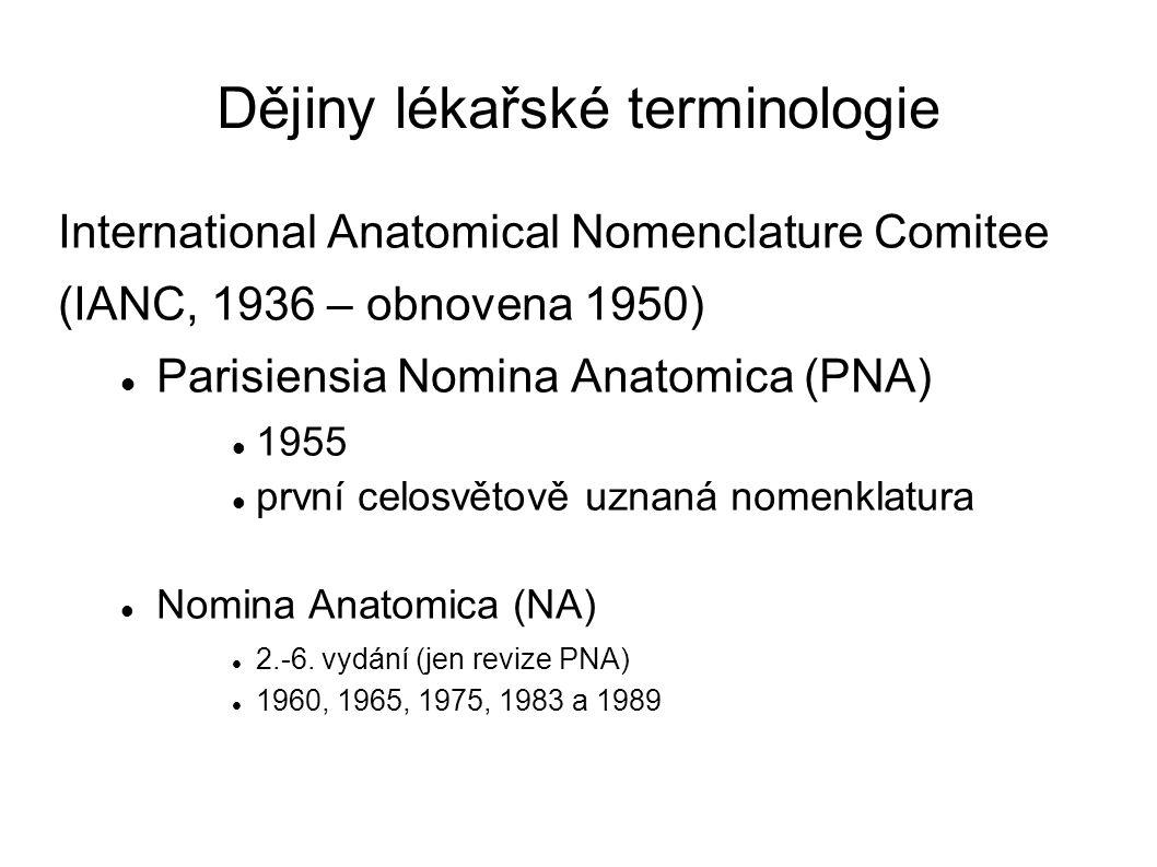 Dějiny lékařské terminologie International Anatomical Nomenclature Comitee (IANC, 1936 – obnovena 1950) Parisiensia Nomina Anatomica (PNA) 1955 první