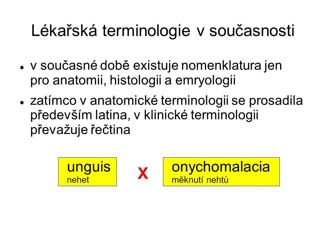 Lékařská terminologie v současnosti v současné době existuje nomenklatura jen pro anatomii, histologii a emryologii zatímco v anatomické terminologii