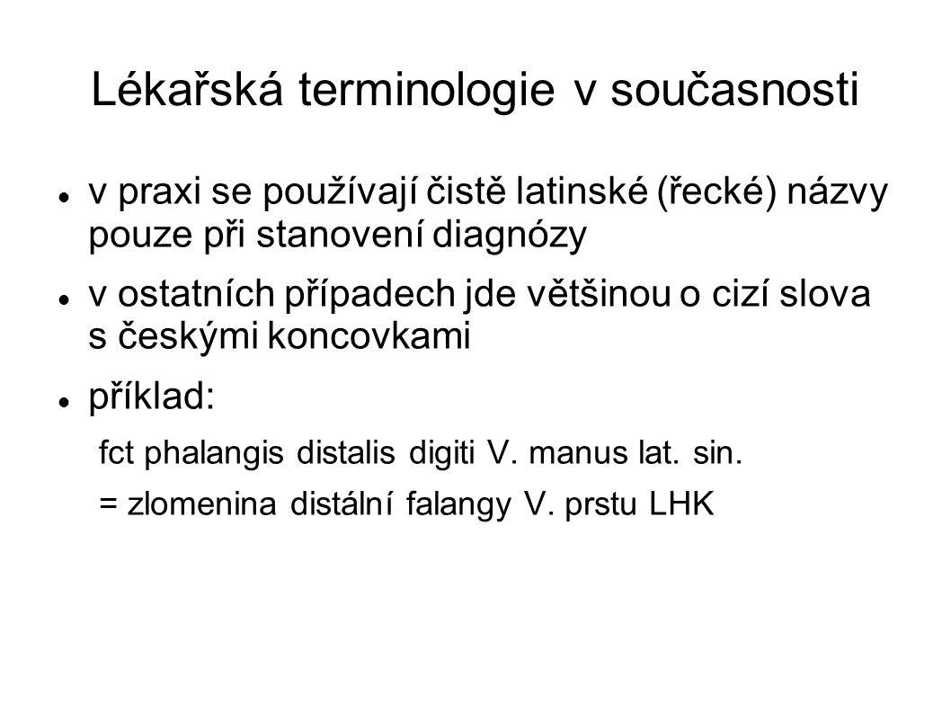 Lékařská terminologie v současnosti v praxi se používají čistě latinské (řecké) názvy pouze při stanovení diagnózy v ostatních případech jde většinou
