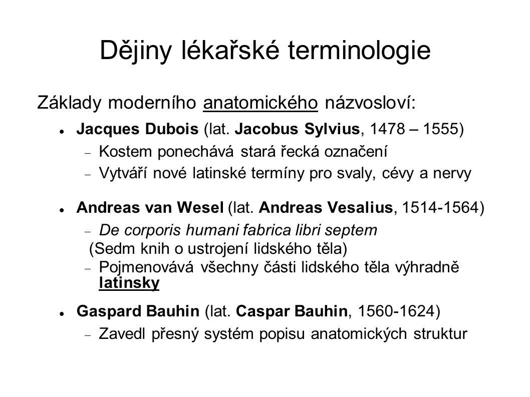 Dějiny lékařské terminologie Základy moderního anatomického názvosloví: Jacques Dubois (lat. Jacobus Sylvius, 1478 – 1555)  Kostem ponechává stará ře