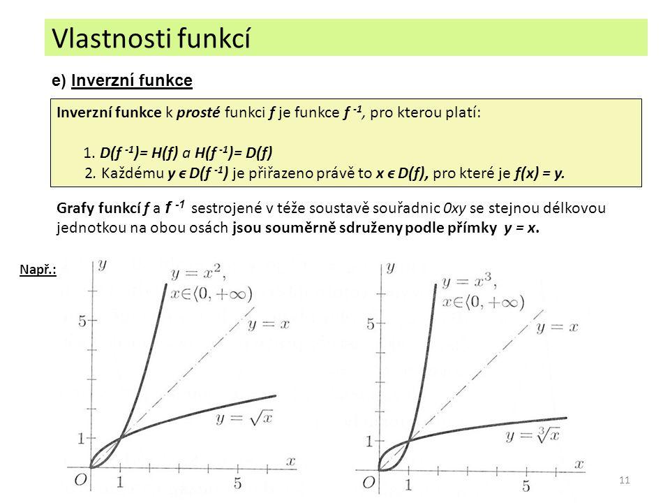 11 e) Inverzní funkce Inverzní funkce k prosté funkci f je funkce f -1, pro kterou platí: 1. D(f -1 )= H(f) a H(f -1 )= D(f) 2. Každému y ϵ D(f -1 ) j