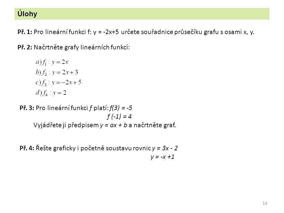 14 Úlohy Př. 1: Pro lineární funkci f: y = -2x+5 určete souřadnice průsečíku grafu s osami x, y. Př. 2: Načrtněte grafy lineárních funkcí: Př. 3: Pro
