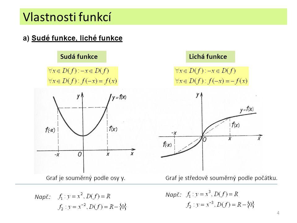 4 a) Sudé funkce, liché funkce Sudá funkceLichá funkce Graf je souměrný podle osy y.Graf je středově souměrný podle počátku. Např.: Vlastnosti funkcí