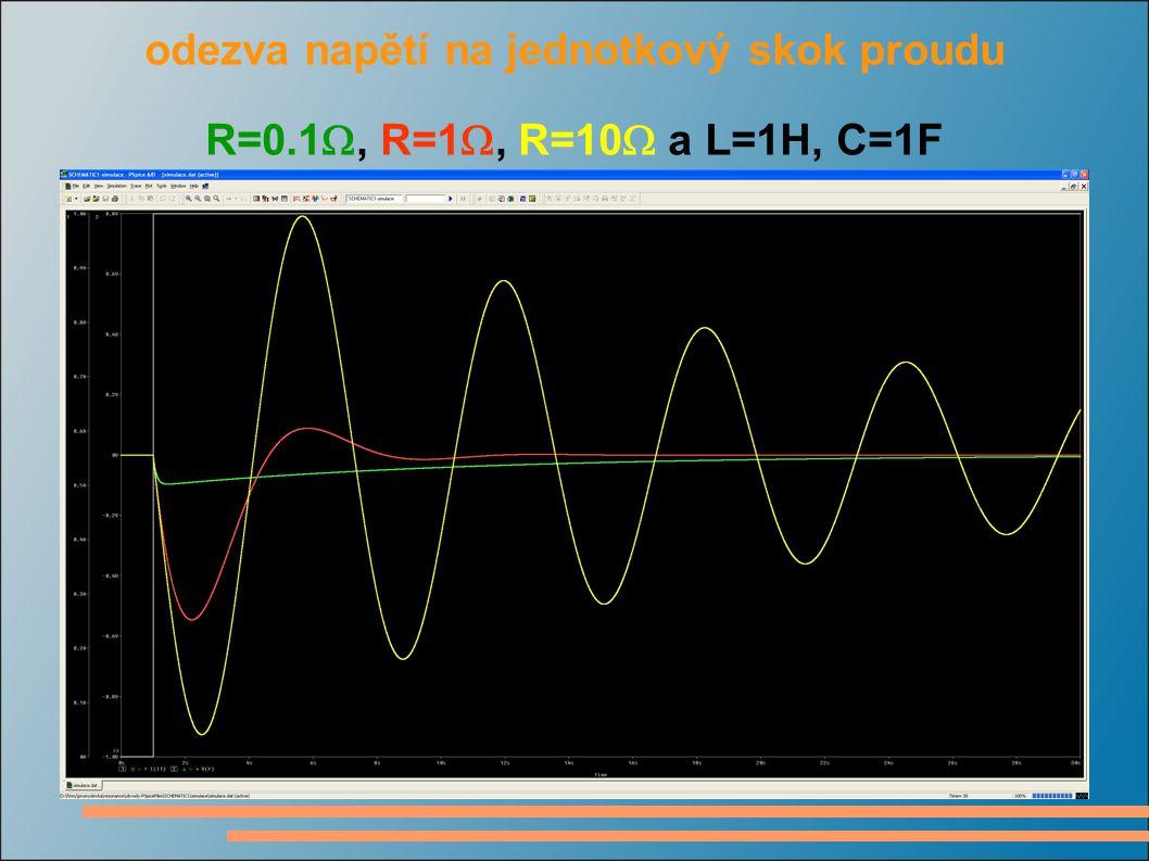 odezva napětí na jednotkový skok proudu R=0.1 , R=1 , R=10  a L=1H, C=1F