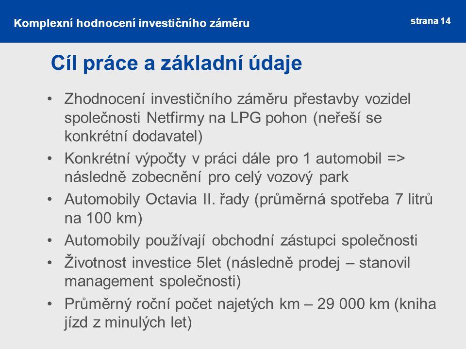 strana 14 Cíl práce a základní údaje Zhodnocení investičního záměru přestavby vozidel společnosti Netfirmy na LPG pohon (neřeší se konkrétní dodavatel