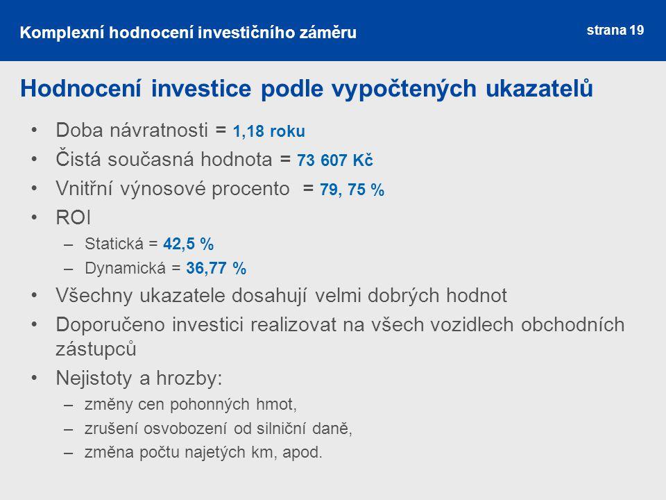 strana 19 Hodnocení investice podle vypočtených ukazatelů Doba návratnosti = 1,18 roku Čistá současná hodnota = 73 607 Kč Vnitřní výnosové procento =