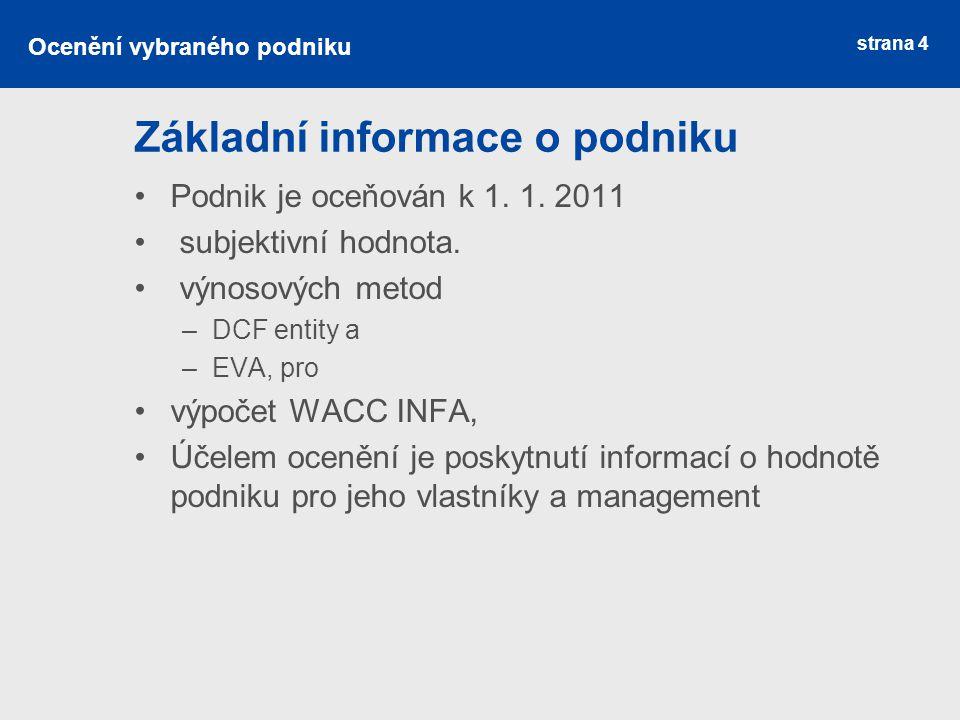 strana 4 Základní informace o podniku Podnik je oceňován k 1. 1. 2011 subjektivní hodnota. výnosových metod –DCF entity a –EVA, pro výpočet WACC INFA,