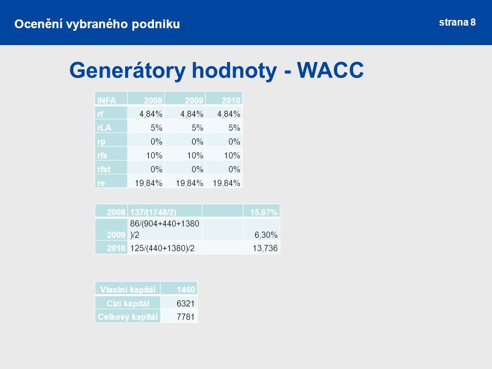 strana 8 Generátory hodnoty - WACC Ocenění vybraného podniku INFA200820092010 rf4,84% rLA5% rp0% rfs10% rfst0% re19,84% 2008137/(1748/2) 15,67% 2009 8