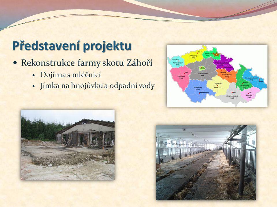 Představení projektu Rekonstrukce farmy skotu Záhoří Dojírna s mléčnicí Jímka na hnojůvku a odpadní vody