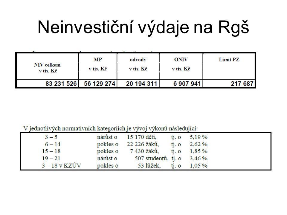 Neinvestiční výdaje na Rgš