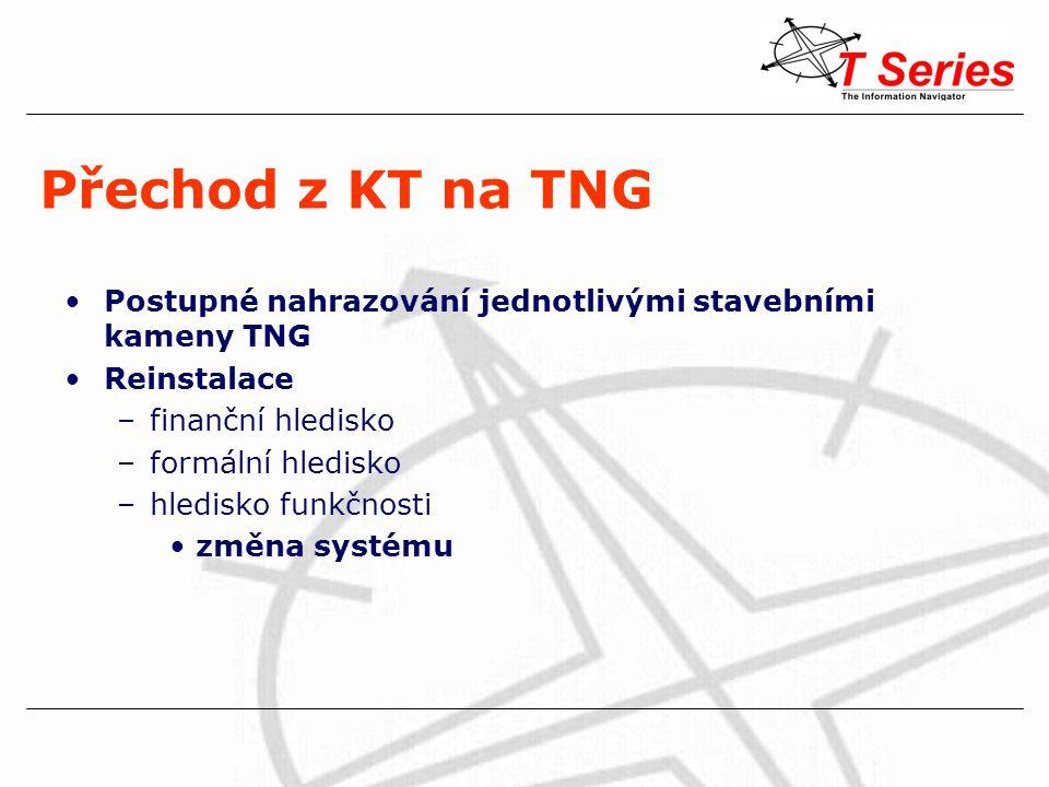 Přechod z KT na TNG Postupné nahrazování jednotlivými stavebními kameny TNG Reinstalace –finanční hledisko –formální hledisko –hledisko funkčnosti změ