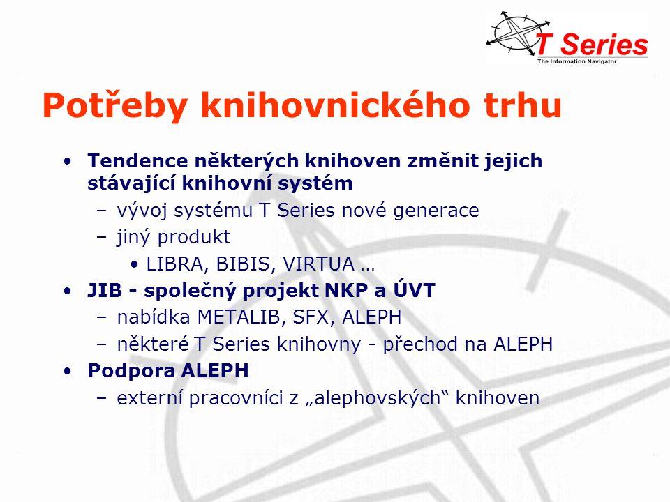"""Potřeby knihovnického trhu Tendence některých knihoven změnit jejich stávající knihovní systém –vývoj systému T Series nové generace –jiný produkt LIBRA, BIBIS, VIRTUA … JIB - společný projekt NKP a ÚVT –nabídka METALIB, SFX, ALEPH –některé T Series knihovny - přechod na ALEPH Podpora ALEPH –externí pracovníci z """"alephovských knihoven"""