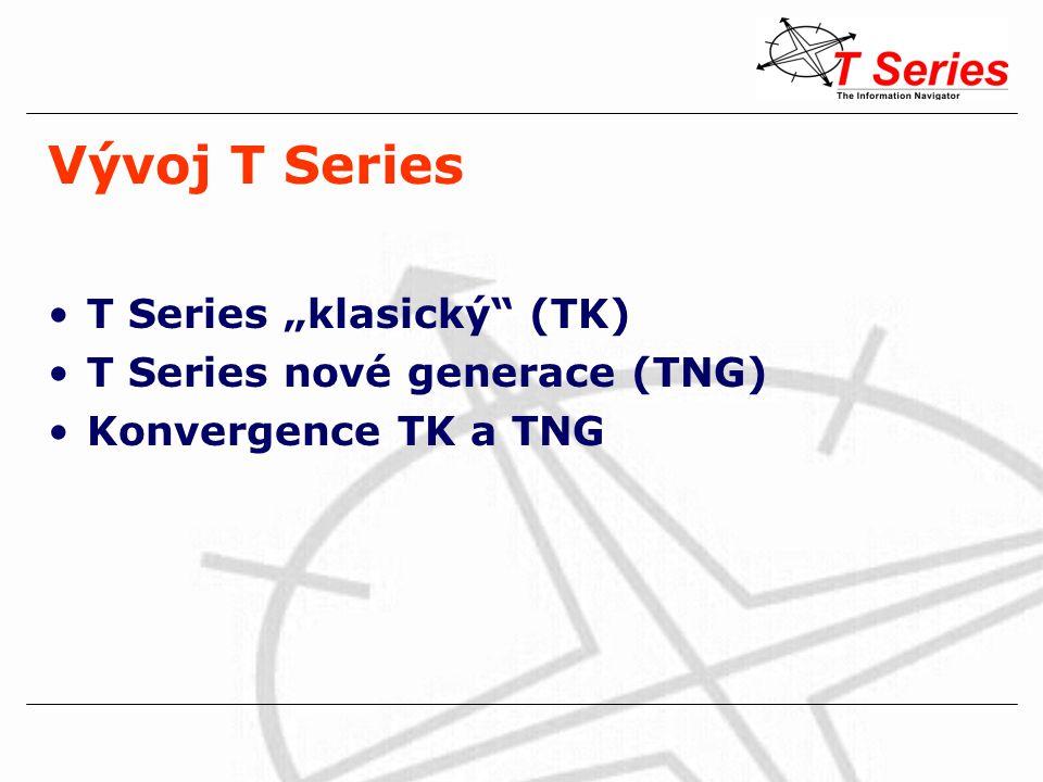 """Vývoj T Series T Series """"klasický (TK) –standardy (de facto standardy) UNIMARC nativní windows prostředí Z39.50 (zapojení do JIB) XML (TinWeb) MARC editor pro autority –verze 306, 307 - zvýšení robustnosti systému T Series nové generace (TNG) přechod na standardní SQL databáze UNICODE úplné grafické rozhraní Konvergence TK a TNG"""