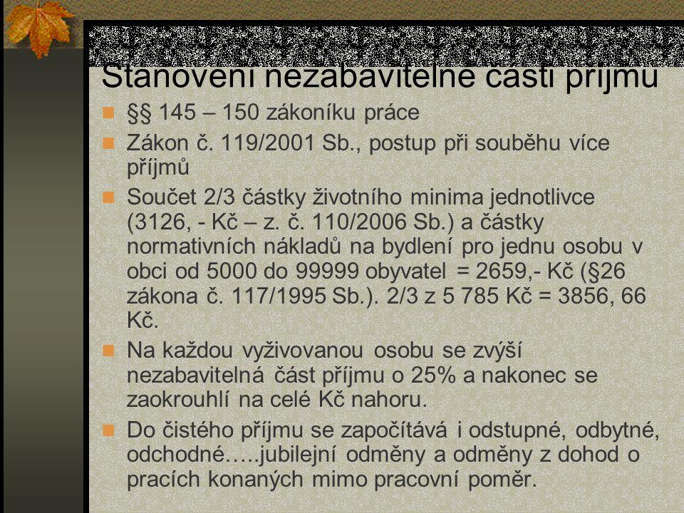 Stanovení nezabavitelné části příjmu §§ 145 – 150 zákoníku práce Zákon č.