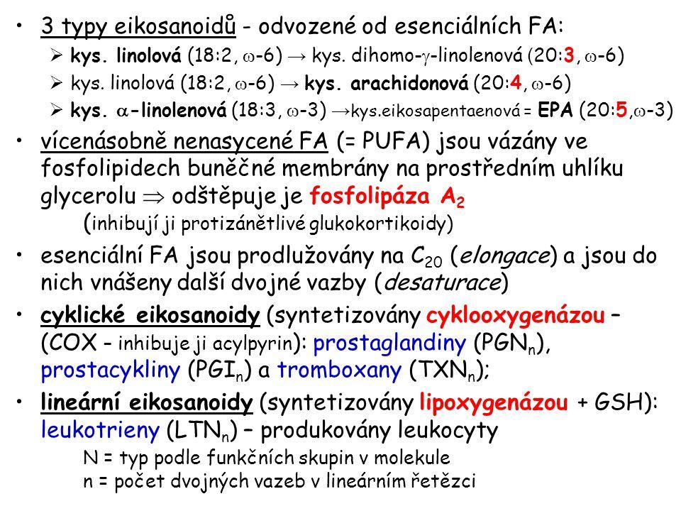 3 typy eikosanoidů - odvozené od esenciálních FA:  kys. linolová (18:2,  -6) → kys. dihomo-  -linolenová ( 20:3,  -6)  kys. linolová (18:2,  -6)
