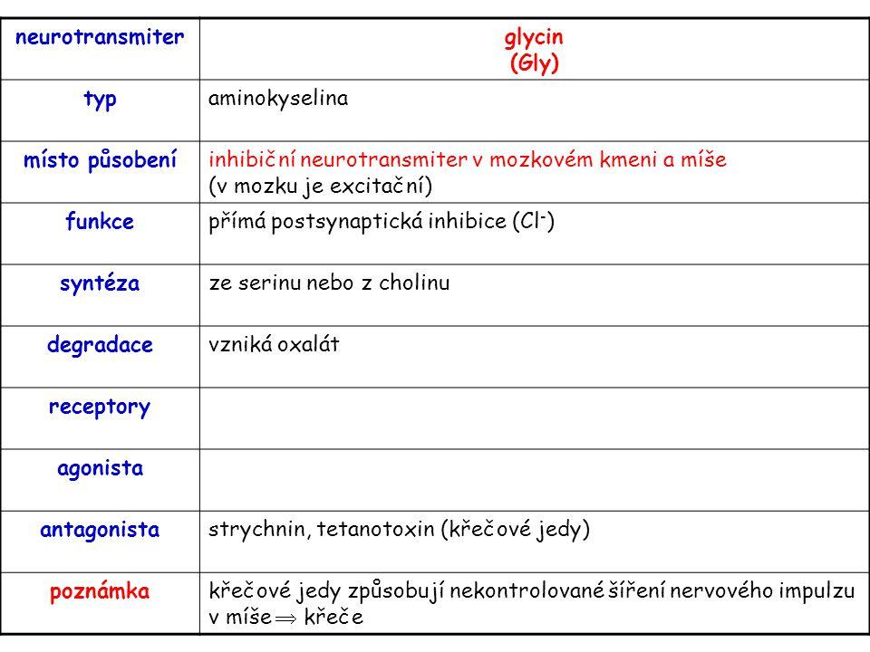 neurotransmiterglycin (Gly) typaminokyselina místo působeníinhibiční neurotransmiter v mozkovém kmeni a míše (v mozku je excitační) funkcepřímá postsy