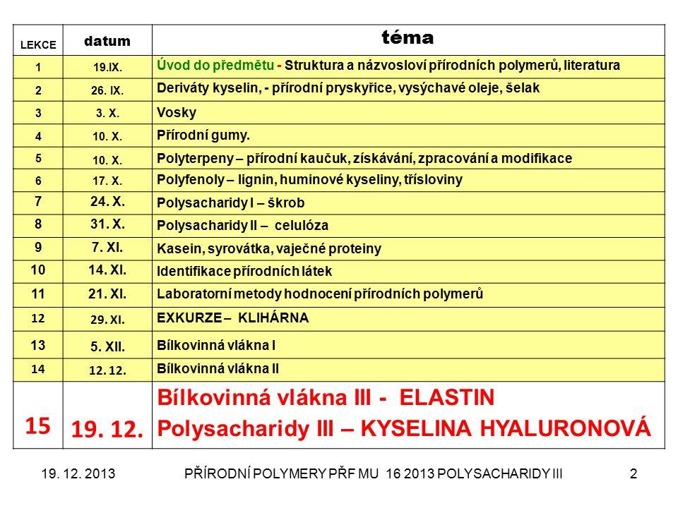 PŘÍRODNÍ POLYMERY PŘF MU 16 2013 POLYSACHARIDY III2 LEKCE datum téma 119.IX. Úvod do předmětu - Struktura a názvosloví přírodních polymerů, literatura