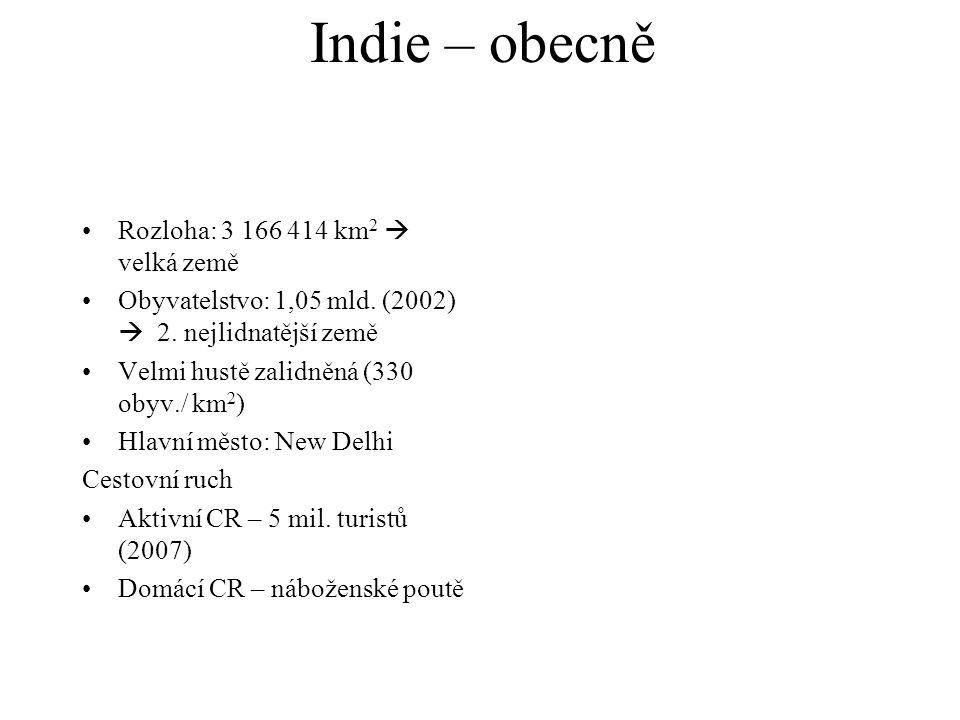 Indie – obecně Rozloha: 3 166 414 km 2  velká země Obyvatelstvo: 1,05 mld.