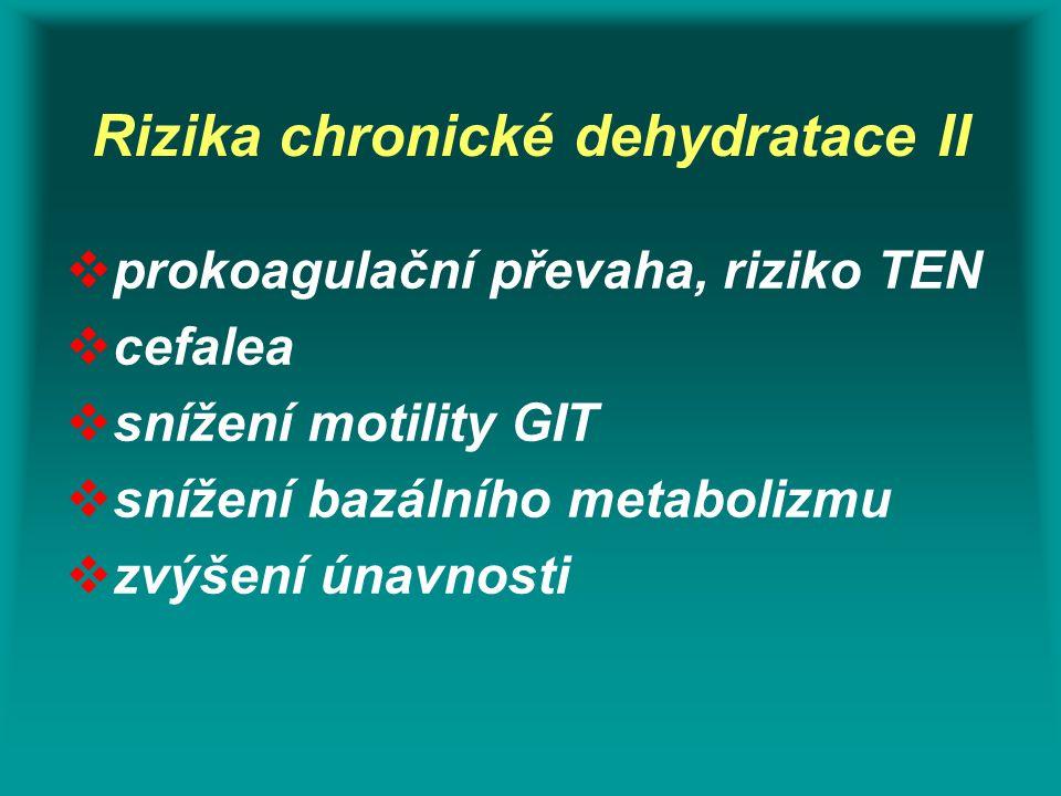 Rizika chronické dehydratace II  prokoagulační převaha, riziko TEN  cefalea  snížení motility GIT  snížení bazálního metabolizmu  zvýšení únavnos