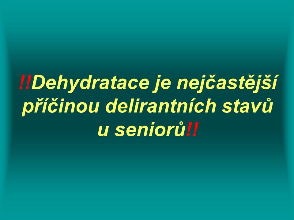 Pocit žízně  pozdní příznak dehydratace věk mužiženy %H2O%H2O absolutní hodnota (kg) deficit (ml) %H2O%H2O absolutní hodnota (kg) deficit (ml) 18-40 6145,759155138,25765 40-60 5541,258254735,25705 nad 60 52397804634,5690