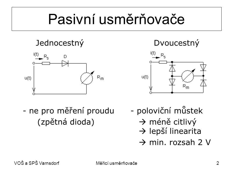 VOŠ a SPŠ VarnsdorfMěřicí usměrňovače3 Usměrňovače s OZ prakticky dokonale lineární charakteristiky lze i v milivoltové oblasti analogové elektronické nf voltmetry a multimetry JEDNOCESTNÝ
