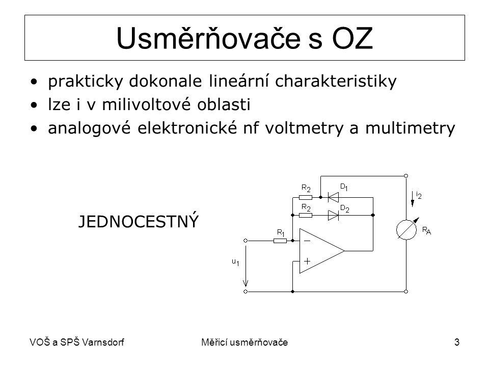 VOŠ a SPŠ VarnsdorfMěřicí usměrňovače3 Usměrňovače s OZ prakticky dokonale lineární charakteristiky lze i v milivoltové oblasti analogové elektronické
