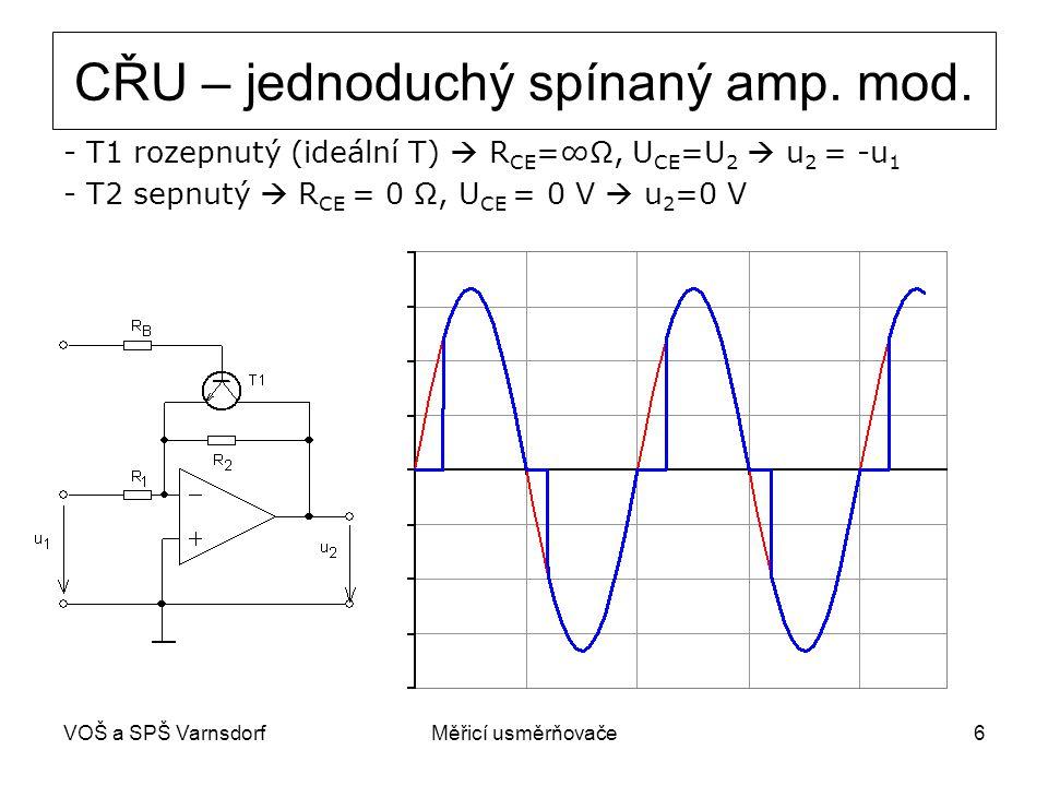 VOŠ a SPŠ VarnsdorfMěřicí usměrňovače6 CŘU – jednoduchý spínaný amp. mod. - T1 rozepnutý (ideální T)  R CE =∞Ω, U CE =U 2  u 2 = -u 1 - T2 sepnutý 