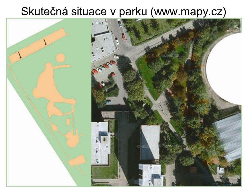 Skutečná situace v parku (www.mapy.cz)