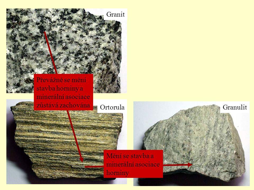 Granit OrtorulaGranulit Převážně se mění stavba horniny a minerální asociace zůstává zachována Mění se stavba a minerální asociace horniny