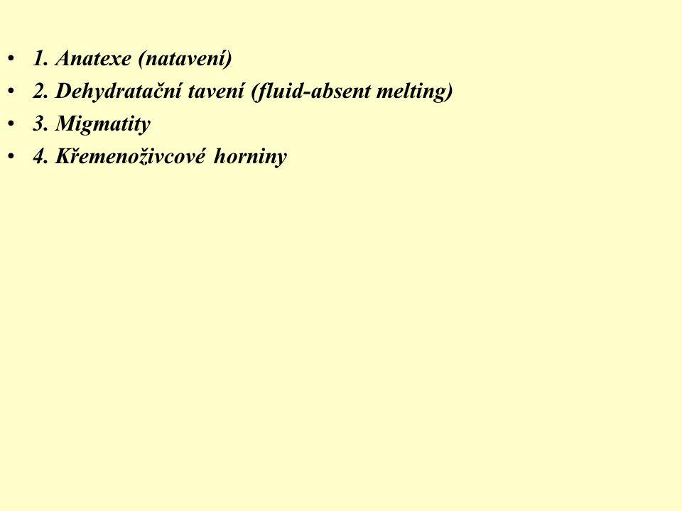 1. Anatexe (natavení) 2. Dehydratační tavení (fluid-absent melting) 3. Migmatity 4. Křemenoživcové horniny