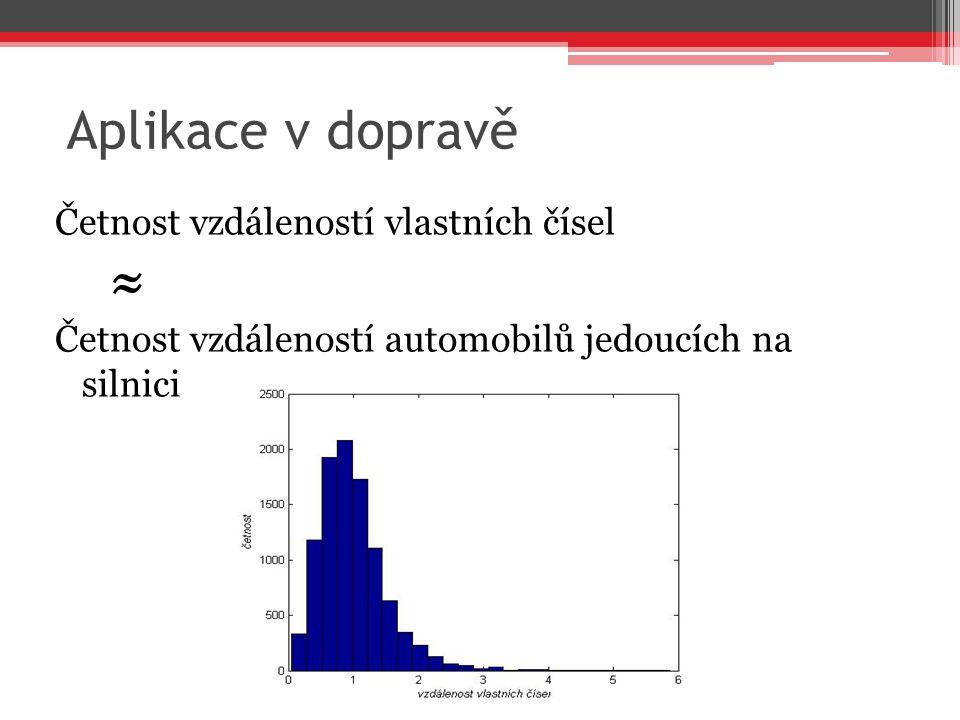 Aplikace v dopravě Četnost vzdáleností vlastních čísel ≈ Četnost vzdáleností automobilů jedoucích na silnici